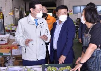 이용섭 광주시장, 추석 앞두고 서부도매시장 방문